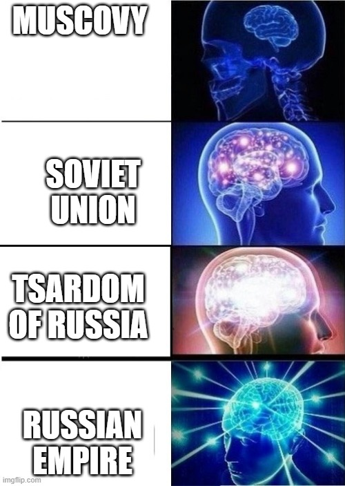 mind blown template |  MUSCOVY; SOVIET UNION; TSARDOM OF RUSSIA; RUSSIAN EMPIRE | image tagged in mind blown template,history,russia,historical meme,soviet union,empire | made w/ Imgflip meme maker