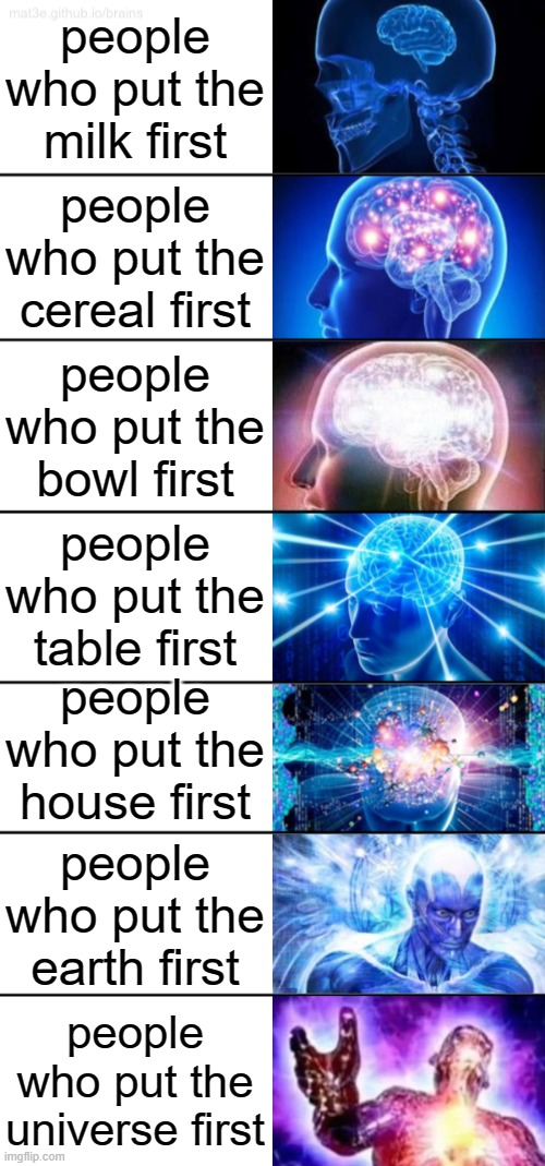 I put the big bang first ;) |  people who put the milk first; people who put the cereal first; people who put the bowl first; people who put the table first; people who put the house first; people who put the earth first; people who put the universe first | image tagged in 7-tier expanding brain | made w/ Imgflip meme maker