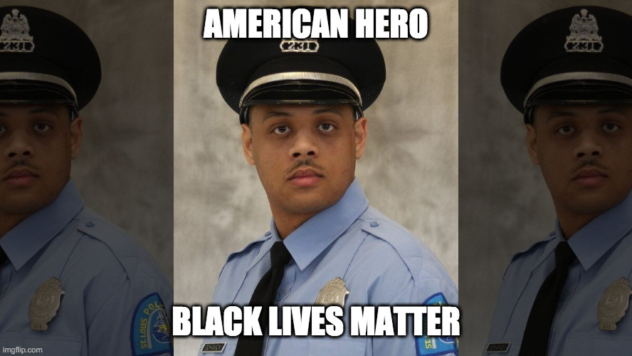 Survived by his wife and three children. |  AMERICAN HERO; BLACK LIVES MATTER | image tagged in blm,antifa,violence is never the answer,riots,crime,hypocrisy | made w/ Imgflip meme maker