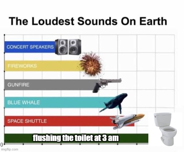 The Loudest Sounds on Earth |  flushing the toilet at 3 am | image tagged in the loudest sounds on earth | made w/ Imgflip meme maker