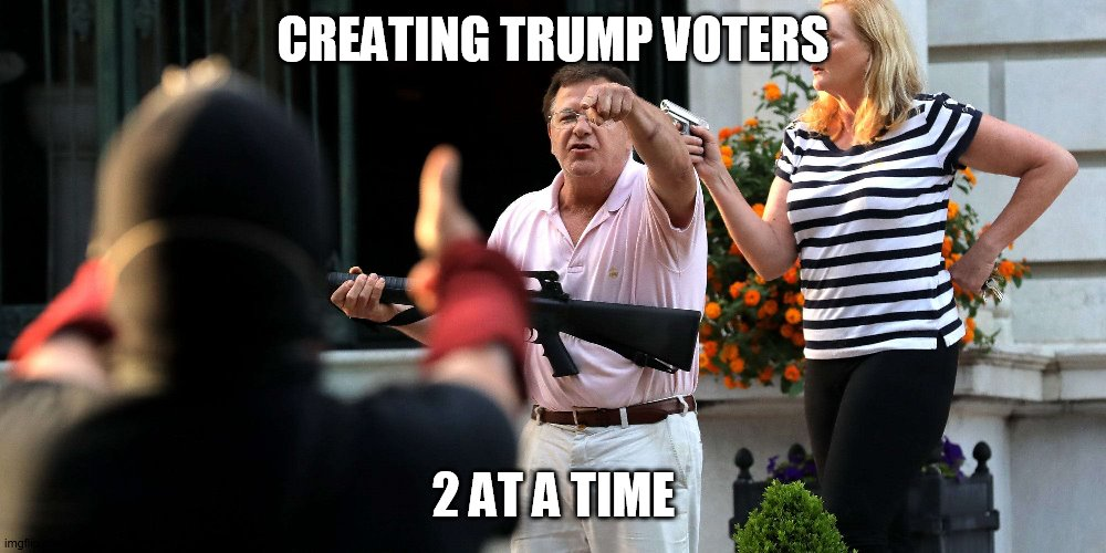 trump voters |  CREATING TRUMP VOTERS; 2 AT A TIME | image tagged in trump supporters | made w/ Imgflip meme maker