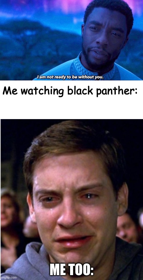 #ChadwickForever |  Me watching black panther:; ME TOO: | image tagged in i'm not ready to be without you,black panther,chadwick boseman,rip | made w/ Imgflip meme maker