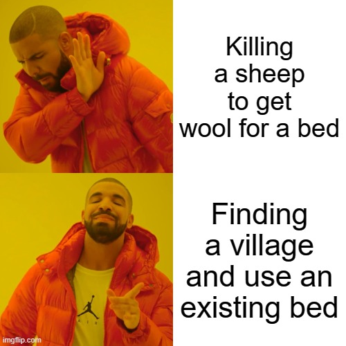 Stop killing sheeps in Minecraft |  Killing a sheep to get wool for a bed; Finding a village and use an existing bed | image tagged in memes,drake hotline bling | made w/ Imgflip meme maker