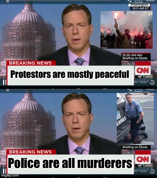 News reporting is mostly corrupt |  Protestors are mostly peaceful; Police are all murderers | image tagged in cnn breaking news template,protesters,george floyd | made w/ Imgflip meme maker