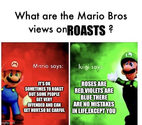 Mario Bros Views |  ROASTS; IT'S OK SOMETIMES TO ROAST BUT SOME PEOPLE GET VERY OFFENDED AND CAN GET HURT.SO BE CARFUL; ROSES ARE RED,VIOLETS ARE BLUE THERE ARE NO MISTAKES IN LIFE,EXCEPT YOU | image tagged in mario bros views | made w/ Imgflip meme maker
