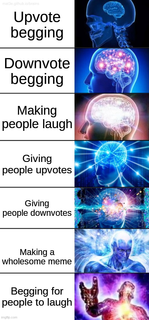 7-Tier Expanding Brain |  Upvote begging; Downvote begging; Making people laugh; Giving people upvotes; Giving people downvotes; Making a wholesome meme; Begging for people to laugh | image tagged in 7-tier expanding brain | made w/ Imgflip meme maker