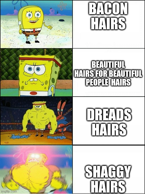 Pretty accurate, don'cha  think? |  BACON HAIRS; BEAUTIFUL HAIRS FOR BEAUTIFUL PEOPLE  HAIRS; DREADS HAIRS; SHAGGY HAIRS | image tagged in sponge finna commit muder,roblox hairs | made w/ Imgflip meme maker