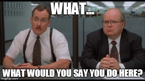 WHAT... WHAT WOULD YOU SAY YOU DO HERE? | image tagged in office space,AdviceAnimals | made w/ Imgflip meme maker