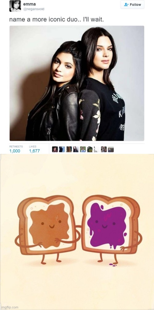 Peanut butter and jelly | image tagged in name a more iconic duo,pbj | made w/ Imgflip meme maker