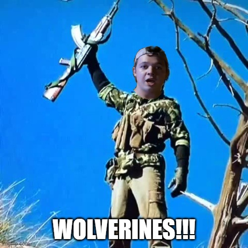Kyle rittenhouse wolverine |  WOLVERINES!!! | image tagged in red dawn,kenosha,kyle | made w/ Imgflip meme maker
