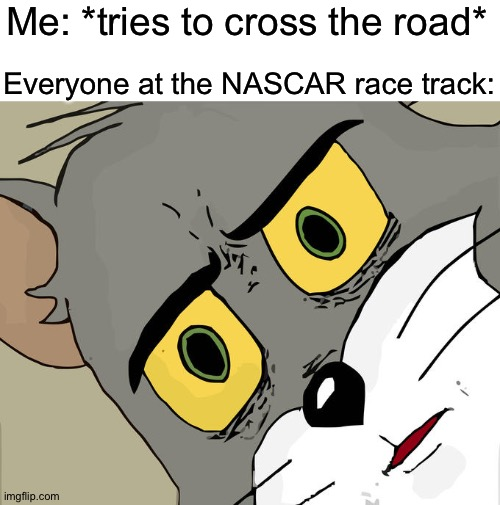 BEEEEEEEEEP!!!!! |  Me: *tries to cross the road*; Everyone at the NASCAR race track: | image tagged in memes,unsettled tom,funny,nascar,cross the road,race | made w/ Imgflip meme maker