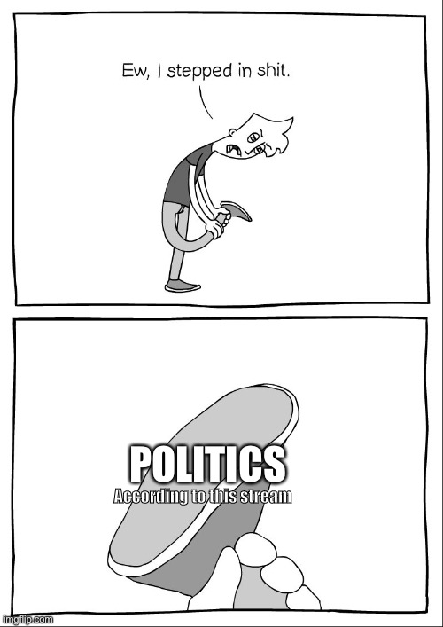 Ew, i stepped in shit |  POLITICS; According to this stream | image tagged in ew i stepped in shit | made w/ Imgflip meme maker