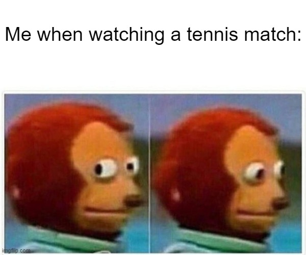 Me watching a tennis match |  Me when watching a tennis match: | image tagged in memes,monkey puppet | made w/ Imgflip meme maker