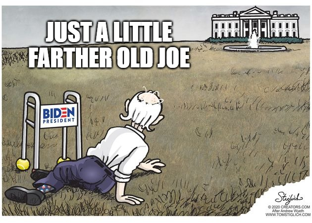 Olld Slow Joe |  JUST A LITTLE FARTHER OLD JOE | image tagged in biden,senile,memes,funny,2020,creepy | made w/ Imgflip meme maker