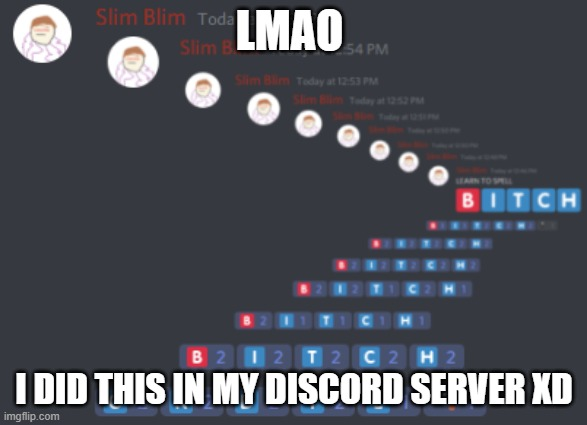 Did this in my discord XD |  LMAO; I DID THIS IN MY DISCORD SERVER XD | image tagged in discord | made w/ Imgflip meme maker