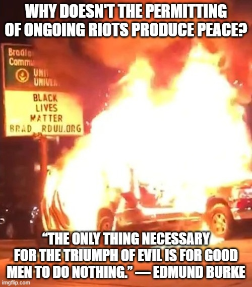 "Black Lives Matter |  WHY DOESN'T THE PERMITTING OF ONGOING RIOTS PRODUCE PEACE? ""THE ONLY THING NECESSARY FOR THE TRIUMPH OF EVIL IS FOR GOOD MEN TO DO NOTHING."" ― EDMUND BURKE 