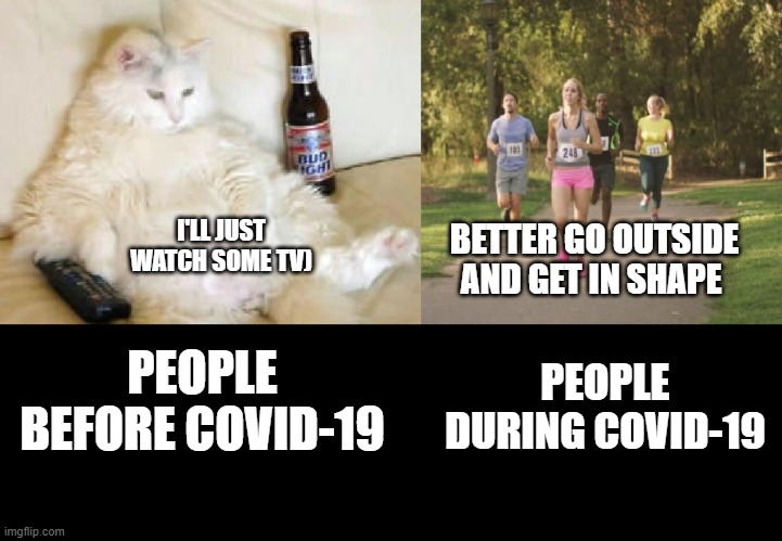 I'LL JUST WATCH SOME TV); BETTER GO OUTSIDE AND GET IN SHAPE; PEOPLE DURING COVID-19; PEOPLE BEFORE COVID-19 | image tagged in funny,memes,covid-19,coronavirus,lazy,exercise | made w/ Imgflip meme maker
