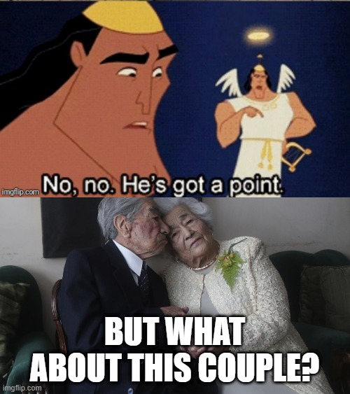BUT WHAT ABOUT THIS COUPLE? | image tagged in no no he's got a point | made w/ Imgflip meme maker