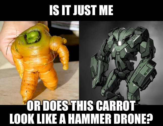 Hammer Drone Carrot |  IS IT JUST ME; OR DOES THIS CARROT LOOK LIKE A HAMMER DRONE? | image tagged in funny memes,carrots | made w/ Imgflip meme maker