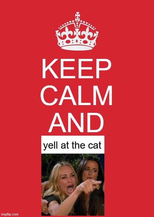 Keep Calm And yell at the cat |  KEEP CALM AND; yell at the cat | image tagged in memes,keep calm and carry on red,crossover,woman yelling at cat | made w/ Imgflip meme maker