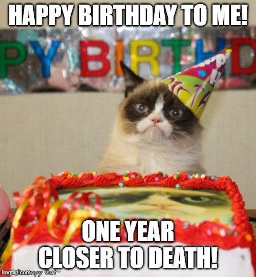 grumpy cat happy birthday |  HAPPY BIRTHDAY TO ME! ONE YEAR CLOSER TO DEATH! | image tagged in memes,grumpy cat birthday,grumpy cat | made w/ Imgflip meme maker