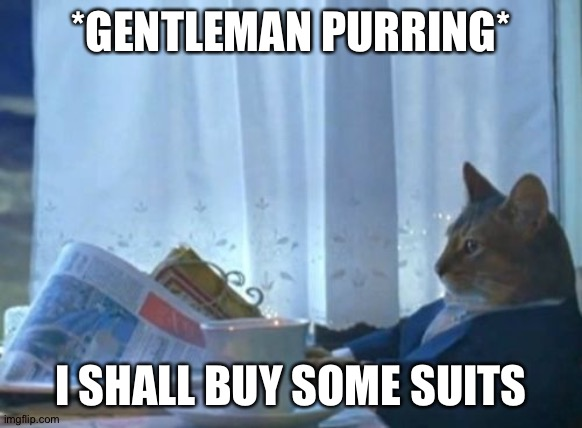 I Should Buy A Boat Cat |  *GENTLEMAN PURRING*; I SHALL BUY SOME SUITS | image tagged in memes,i should buy a boat cat | made w/ Imgflip meme maker