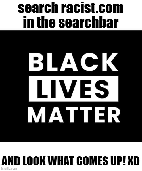 The laughs just keep on coming! Try it, search racist.com |  search racist.com in the searchbar; AND LOOK WHAT COMES UP! XD | image tagged in memes,politics,all lives matter | made w/ Imgflip meme maker