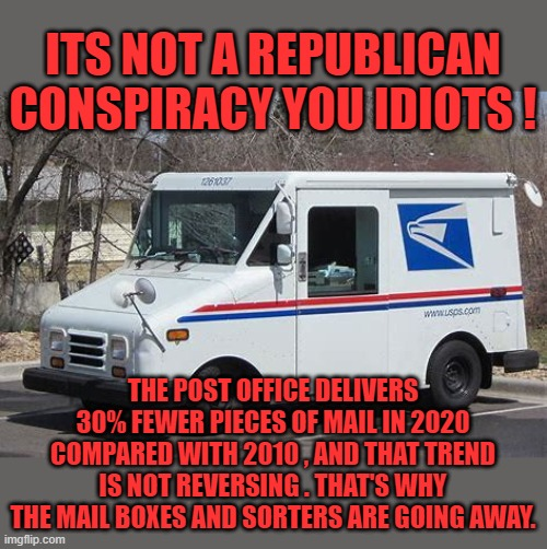 get a grip folks ! |  ITS NOT A REPUBLICAN CONSPIRACY YOU IDIOTS ! THE POST OFFICE DELIVERS 30% FEWER PIECES OF MAIL IN 2020 COMPARED WITH 2010 , AND THAT TREND IS NOT REVERSING . THAT'S WHY THE MAIL BOXES AND SORTERS ARE GOING AWAY. | image tagged in joe biden,nancy pelosi,democrats,communism,2020 elections,mailbox | made w/ Imgflip meme maker