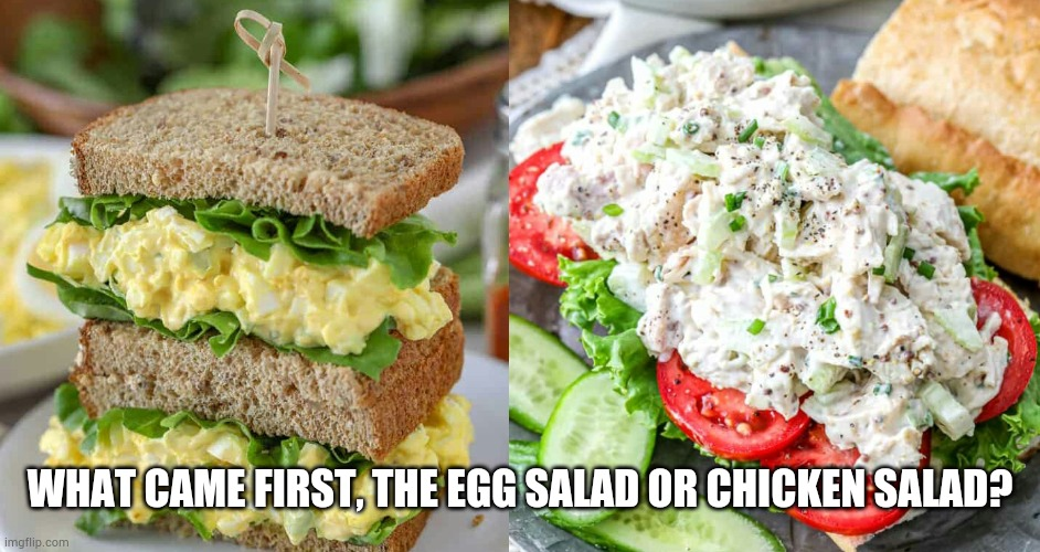Egg or chicken |  WHAT CAME FIRST, THE EGG SALAD OR CHICKEN SALAD? | image tagged in eggs,chicken,egg | made w/ Imgflip meme maker
