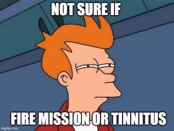 Huh? |  NOT SURE IF; FIRE MISSION OR TINNITUS | image tagged in memes,futurama fry,us army,cannon,funny,veteran | made w/ Imgflip meme maker