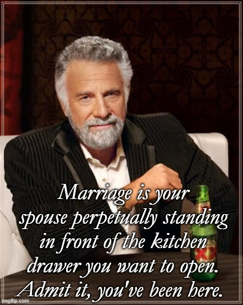 The Most Interesting Man In The World Meme |  Marriage is your spouse perpetually standing in front of the kitchen drawer you want to open. Admit it, you've been here. | image tagged in memes,the most interesting man in the world | made w/ Imgflip meme maker