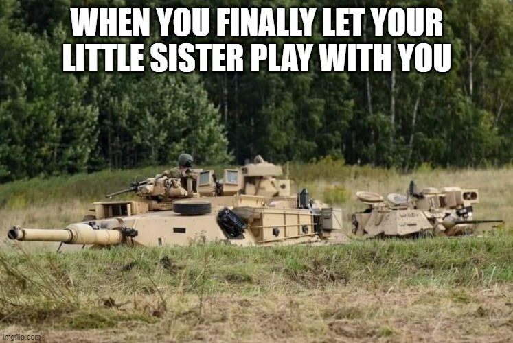When you finally let your sister play |  WHEN YOU FINALLY LET YOUR LITTLE SISTER PLAY WITH YOU | image tagged in siblings,tank | made w/ Imgflip meme maker