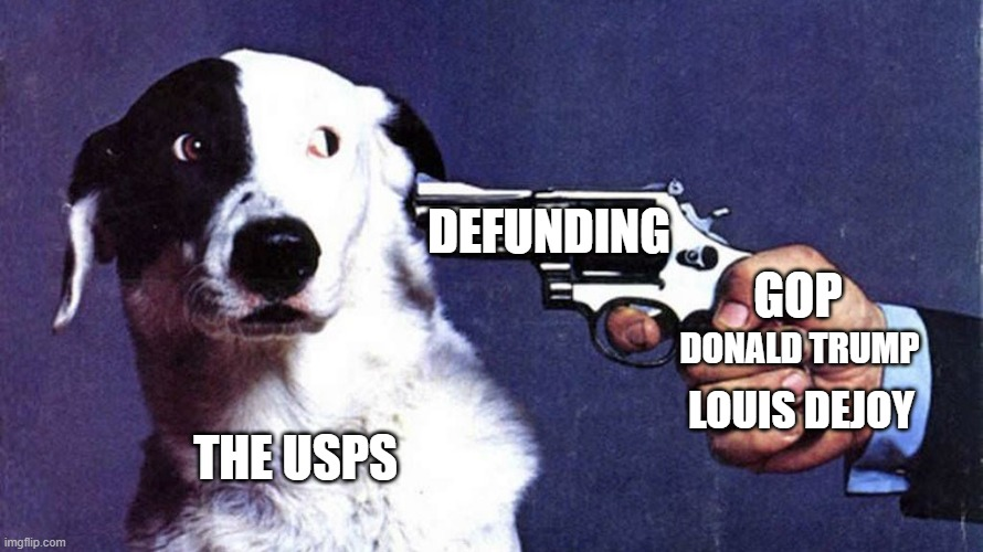 National Lampoon Magazine wants you to save the post office or they will kill this dog |  DEFUNDING; GOP; DONALD TRUMP; LOUIS DEJOY; THE USPS | image tagged in national lampoon,dog,gun,usps,gop,donald trump | made w/ Imgflip meme maker