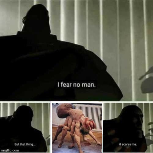 I don't know what this is, but it's terrifying | image tagged in i fear no man,funny,funny memes,funny meme,scary,brimmuthafukinstone | made w/ Imgflip meme maker