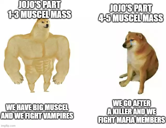 Buff Doge vs. Cheems Meme |  JOJO'S PART 1-3 MUSCEL MASS; JOJO'S PART 4-5 MUSCEL MASS; WE HAVE BIG MUSCEL AND WE FIGHT VAMPIRES; WE GO AFTER A KILLER AND WE FIGHT MAFIA MEMBERS | image tagged in buff doge vs cheems | made w/ Imgflip meme maker