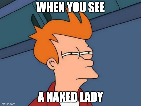 Nsfw |  WHEN YOU SEE; A NAKED LADY | image tagged in memes,futurama fry | made w/ Imgflip meme maker