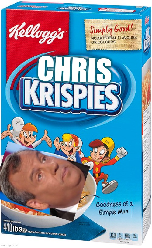 Part of A Fair and Balanced™©® Breakfast |  CHRIS; Man; lbs. | image tagged in memes,cereal,chris christie | made w/ Imgflip meme maker