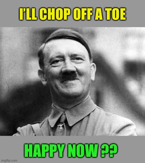 adolf hitler | I'LL CHOP OFF A TOE HAPPY NOW ?? | image tagged in adolf hitler | made w/ Imgflip meme maker
