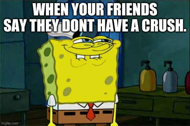 LOL |  WHEN YOUR FRIENDS SAY THEY DONT HAVE A CRUSH. | image tagged in memes,don't you squidward | made w/ Imgflip meme maker