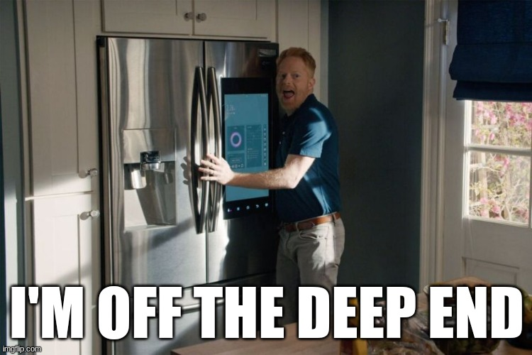 Modern Family Mitchell Pritchett Shallow Off the Deep End |  I'M OFF THE DEEP END | image tagged in modern family,mitchell,shallow,lady gaga,memes,tv shows | made w/ Imgflip meme maker