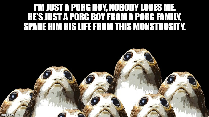 I'M JUST A PORG BOY, NOBODY LOVES ME. HE'S JUST A PORG BOY FROM A PORG FAMILY, SPARE HIM HIS LIFE FROM THIS MONSTROSITY. | image tagged in queen,star wars porg | made w/ Imgflip meme maker