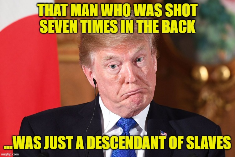 THAT MAN WHO WAS SHOT SEVEN TIMES IN THE BACK ...WAS JUST A DESCENDANT OF SLAVES | made w/ Imgflip meme maker