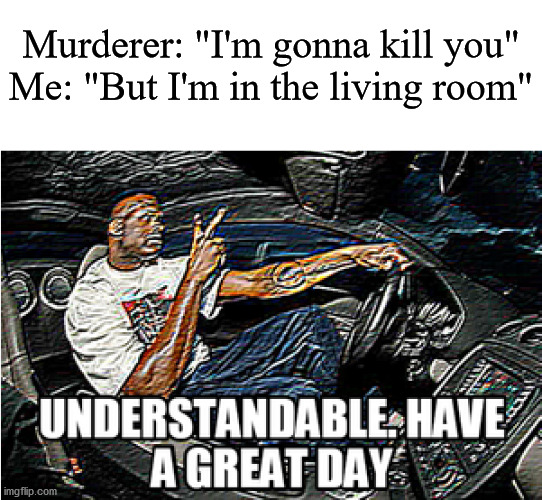 "UNDERSTANDABLE, HAVE A GREAT DAY |  Murderer: ""I'm gonna kill you"" Me: ""But I'm in the living room"" 