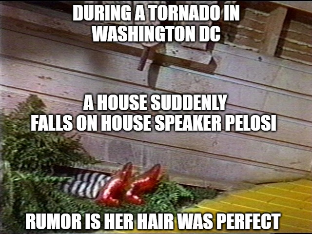Werewolves of London |  DURING A TORNADO IN WASHINGTON DC; A HOUSE SUDDENLY FALLS ON HOUSE SPEAKER PELOSI; RUMOR IS HER HAIR WAS PERFECT | image tagged in memes,pelosi,fun,funny,hair,2020 | made w/ Imgflip meme maker