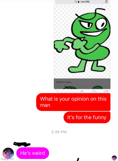 I asked a friend who knows nothing about bfb their opinion on two | image tagged in bfb,bfdi,tpot,texting,texts | made w/ Imgflip meme maker