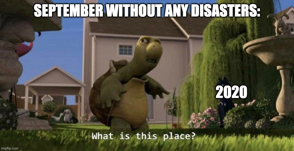 What is this place |  SEPTEMBER WITHOUT ANY DISASTERS:; 2020 | image tagged in what is this place,2020 sucks,september,coronavirus | made w/ Imgflip meme maker