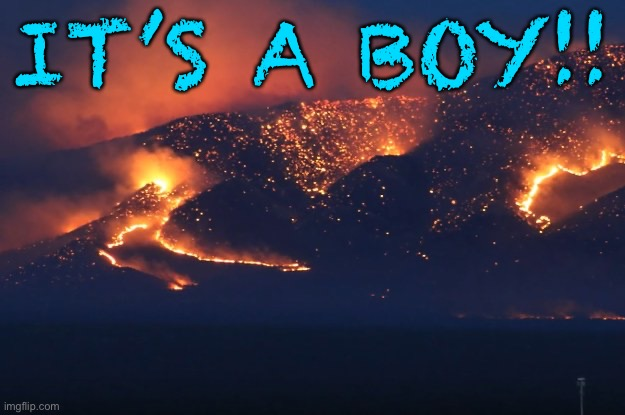 Revealation 21:8 |  IT'S A BOY!! | image tagged in funny,fire,california,reveal | made w/ Imgflip meme maker