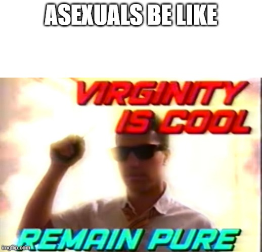 ASEXUALS BE LIKE | image tagged in blank white template,virginity is cool | made w/ Imgflip meme maker