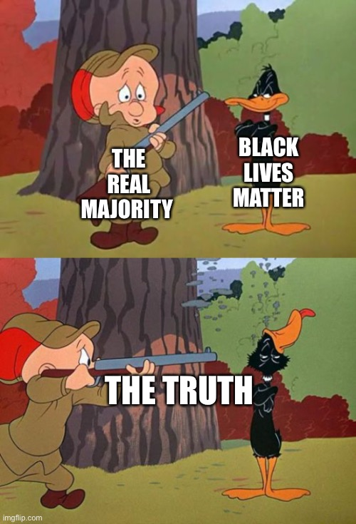 The truth BLM blows up in BLM's face |  BLACK LIVES MATTER; THE REAL MAJORITY; THE TRUTH | image tagged in black lives matter,elmer fudd,daffy duck,truth hurts | made w/ Imgflip meme maker
