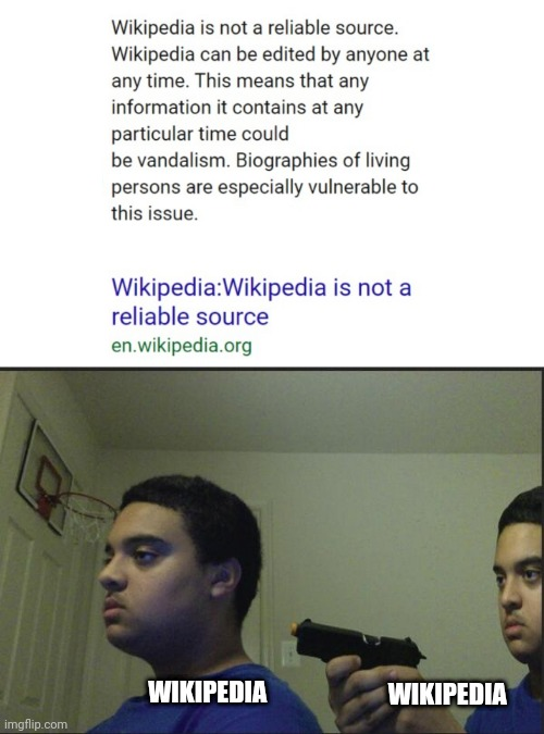 Certified bruh moment |  WIKIPEDIA; WIKIPEDIA | image tagged in trust nobody not even yourself,memes,wikipedia,funny,certified bruh moment | made w/ Imgflip meme maker